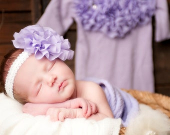 Lavender Infant Layette Baby Gown with Chiffon Flowers and Rhinestones
