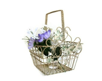 Wrought Iron Basket Cream White Chippy Paint Shabby Cottage Decor French Provincial Garden