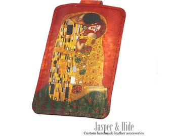 Printed leather Iphone, Ipod, Blackberry, Android, Samsung, Smartphone Case with Gustav Klimpt print
