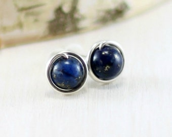 Lapis Earrings, Sterling Silver Blue Lapis Stud Earrings Wire Wrapped Post Lapis Lazuli Earrings Under 25