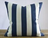 Robert Allen Navy Blue and White Stripe Pillow Cover - Indoor or Outdoor 18x18, 20x20, 22x22