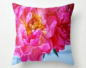 Bright Pink Peony with Hot Pink Tassel Throw Pillow Cover - Home Decor - Garden Sun Room - Girl's Room