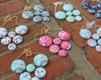 "Lilly Pulitzer ""Sailor Patch"" Fabric Covered Button Necklace"