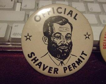 Official Shaver Permit Pinback Button 1950's vintage