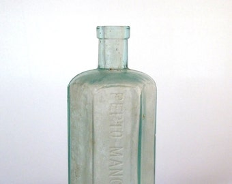 Antique Vintage Aqua Pepto-Mangan Gude Hexagon Bottle