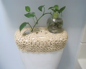 Crochet toilet tank lid cover or toilet seat cover - oatmeal (TSC8E or TTL8E)