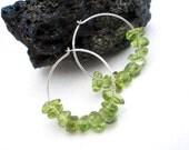 Natural Gemstone Peridot Smooth Nugget  925 Sterling Silver 24mm Hoop Earrings