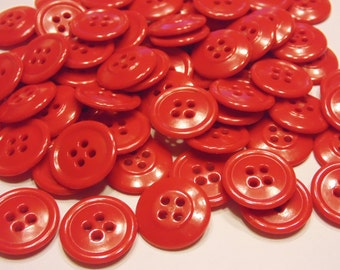 8 vintage bright lipstick red buttons , 19 mm (41)