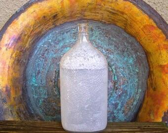 Vintage Glass Bottle, 10 inch White Crackled Glass Bottle,  Vintage Liquor Barware, Nautical Den Decor