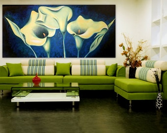 Original Oil Painting Calla Lily Flowers Painting - Wax Beauties - Huge - Blue Green - extra Large Size - Made To Order