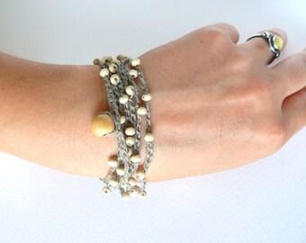 Linen crochet bracelet, wedding bracelet, Bohemian, crochet linen bracelet, Birthday gift, Shabby chic bracelet, Wedding romantic bracelet