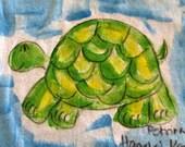 Hand painted shirt - Kauai Hawaii - Kauai hand painted long sleeved T shirt - child - turtle dragon owl chick mermaid