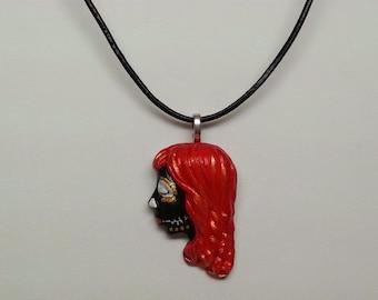 OOAK Hand Painted Day of the Dead Sugar Skull Necklace - Dia de los Muertos, Skeleton, Girl, Goth, Mexican, Rockabilly, Tattoo, Halloween