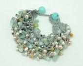 Aventorine,freshwater pearl and crystal knitting bracelet
