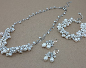 Bridal jewelry set white freshwater pearl and crystal necklace,bracelet,earring