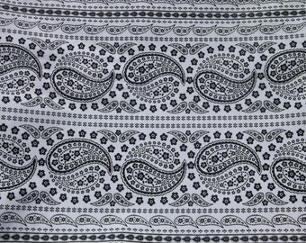 LAST PIECE!  Black and White Paisley Cotton Fabric - 33""
