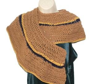 Crochet Shawl, Shoulder Wrap, Short Shawl, Crochet Stole, Shawl, Womens Shawl, Spring Shawl, Brown Wrap, Womens Capelet, Crochet Wrap