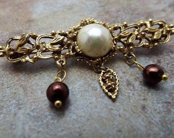 Gold Plated and Pearl Bar Pin