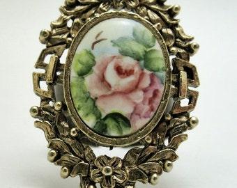 RING Feminine and Ornate Porcelain Rose and Antiqued Bronze Repurposed Earrings