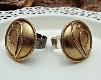 RING Concho Gold on Silver Adjustable Base made from old earrings