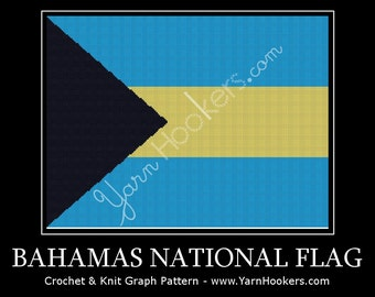 Bahamas National Flag - Afghan Crochet Graph Pattern Chart - Instant Download