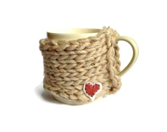 Knitted Coffee Cozy, Autumn Winter Knitted Mug Hug