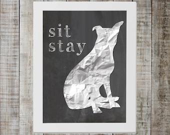 Pittie 'sit stay' Chalkboard Print