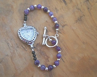 Watch Bracelet Heart Face Purple Dragon Vein Agate Silver Bead Toggle Clasp Valentine Heart Gift February