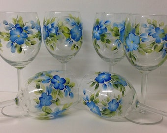 Wedding Large Hand Painted Wine Glasses set of 6 - 11 3/4 oz