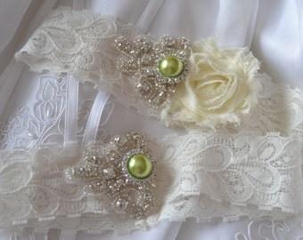 Wedding Garter - Rhinestone Bridal Garter - Green Garter Set- Ivory Garter