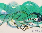 Sleeping figure in green and blue. Original watercolor and India ink drawing on gray paper.