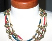 Tribal Necklace, Native American Jewelry, Heishi, Beaded Necklace, Brass Necklace, Antique Alchemy