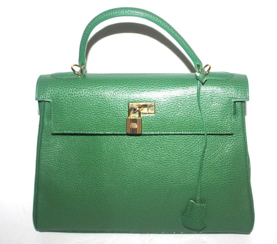 Vintage Green Leather Purse with Lock and Key Bag Hobo