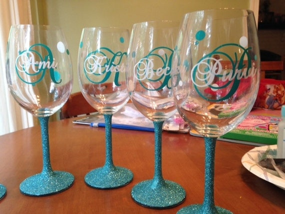 Custom Monogram Vinyl Wine Glass Decals Bridal Party - Custom vinyl decals for wine glasses