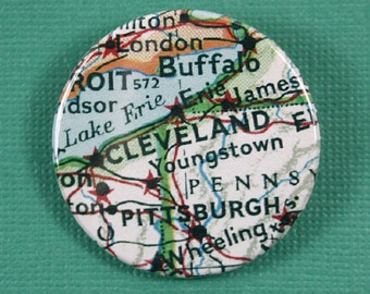 Pinback Button, Cleveland,, USA, Ø 1.5 Inch Badge, Atlas, Travel, vintage, fun, typography, whimsical