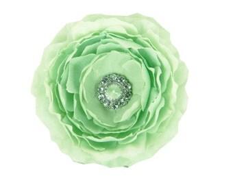 Mint Dog Collar Flower, Rhinestone Dog Flower: Ruffled Rani in Mint