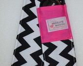 Black Chevron with Pink Pockets. Padded SLR or DSLR Camera Strap Cover. 2 Lens Cap Pockets.
