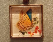 Glass Tile Necklace- Vintage Style Blue Butterfly