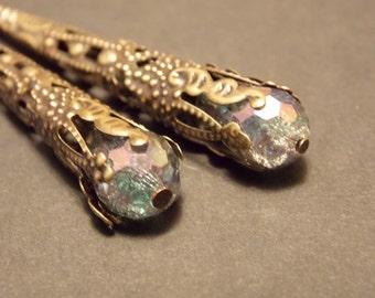 Iridescent Victorian Drop Earrings