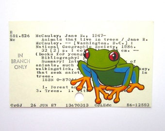Tree Frog Library Card Art - Print of my painting of a tropical tree frog on a library card catalog card