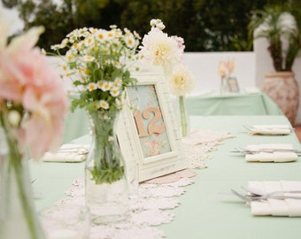 Mint Table runners, bridal shower, Sweet 16, Derby, BBQ party, Quinceaneras, Shabby Chic, Vintage, Fathers Day, or  Rustic Wedding