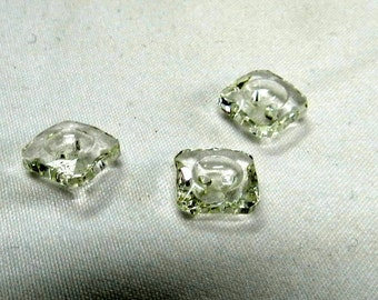 Vintage Clear Glass square Buttons (414-50)