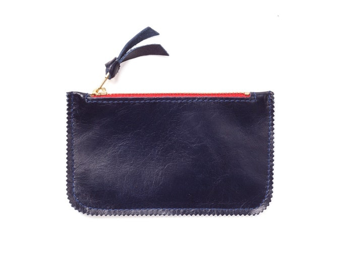Navy leather wallet, fashion wallet, zipper wallet, leather bag