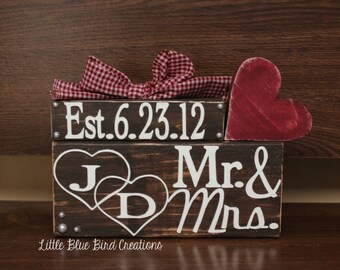 personalized anniversary wedding blocks - newlyweds- wedding decor - gift - valentines day