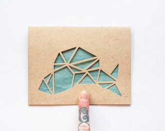 Father's Day Card: Geometric Fish--custom color + message