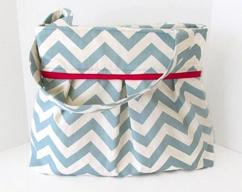 Large Chevron Pleated Diaper Bag Village Blue with Red Accent Lining Baby Boy