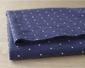 """Mini Polka Dots Navy Cotton Knit - 64"""" wide - By the Yard 77400 - KG"""