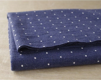 "Mini Polka Dots Navy Cotton Knit - 64"" wide - By the Yard 77400 - KG"