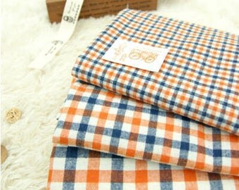"""Brushed Orange Plaid Cotton Fabric - Choose From 3 Patterns - 62"""" Wide - By the Yard 50151"""