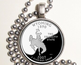 Wyoming Art Pendant, Earrings or Key Chain, USA Quarter Dollar Image, Round Photo Silver and Resin Charm Jewelry